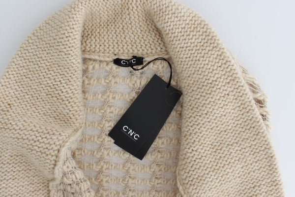 Beige cardigan heavy-weight sweater