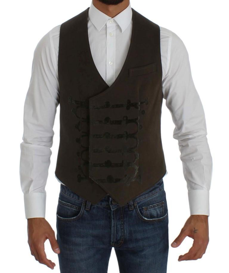 Brown Cotton Double Breasted Button Slim Fit Vest