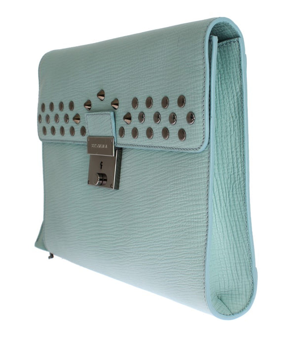 Blue Leather Studded Document Portfolio Briefcase Bag - Designer Clothes, Handbags, Shoes + from Dolce & Gabbana, Prada, Cavalli, & more