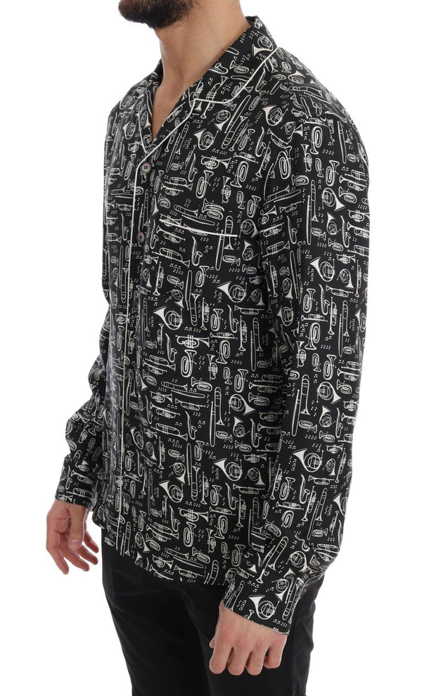 Black Silk JAZZ Motive Print Casual Shirt