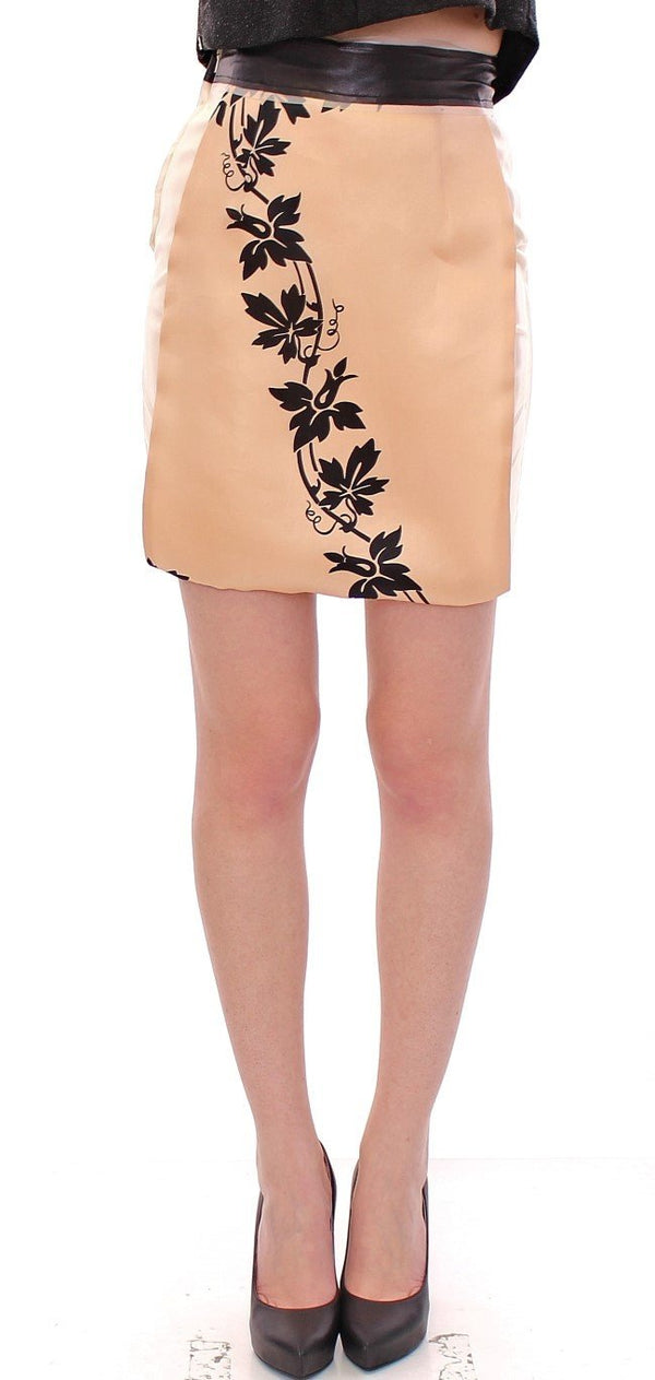Beige Floral Print Silk Mini Skirt