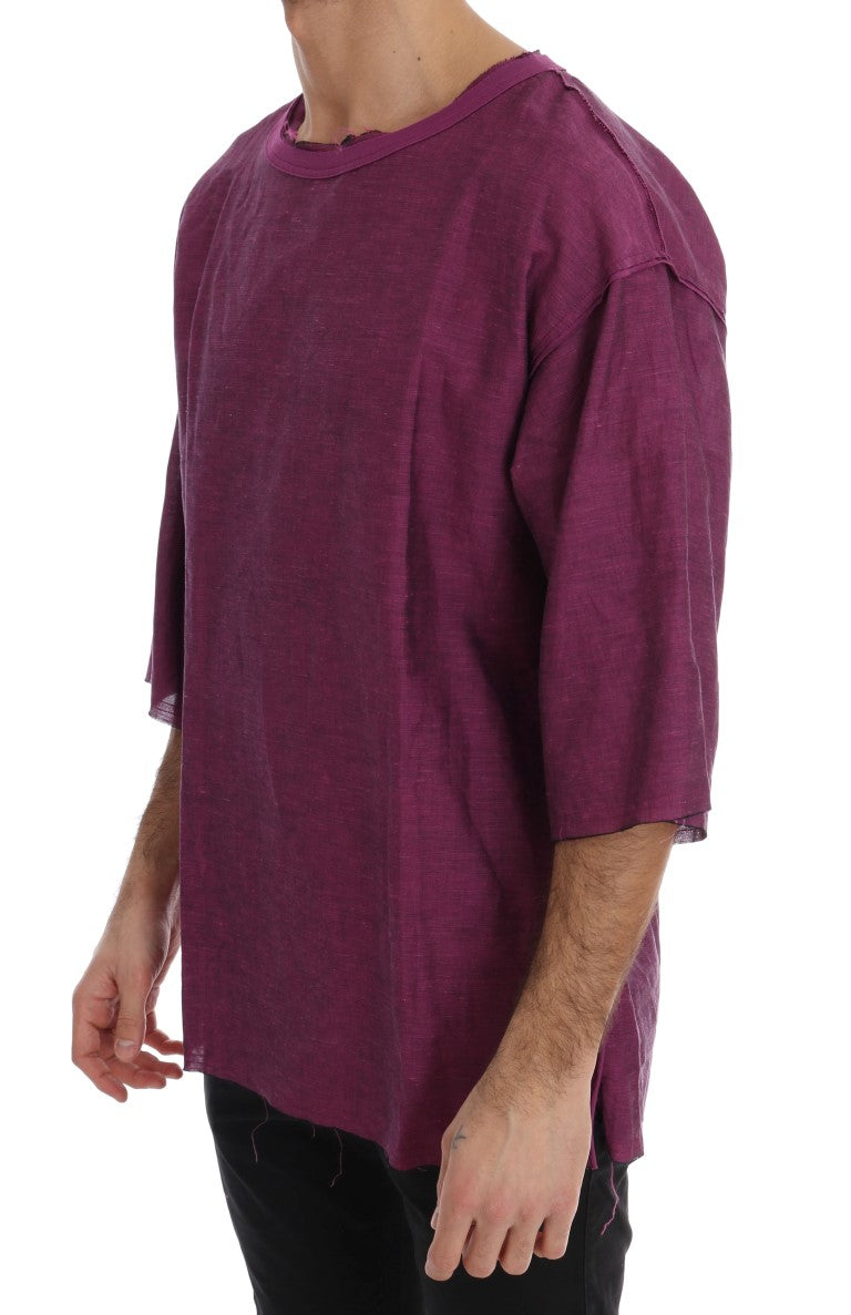 Purple Linen Cotton Oversize Crewneck T-Shirt