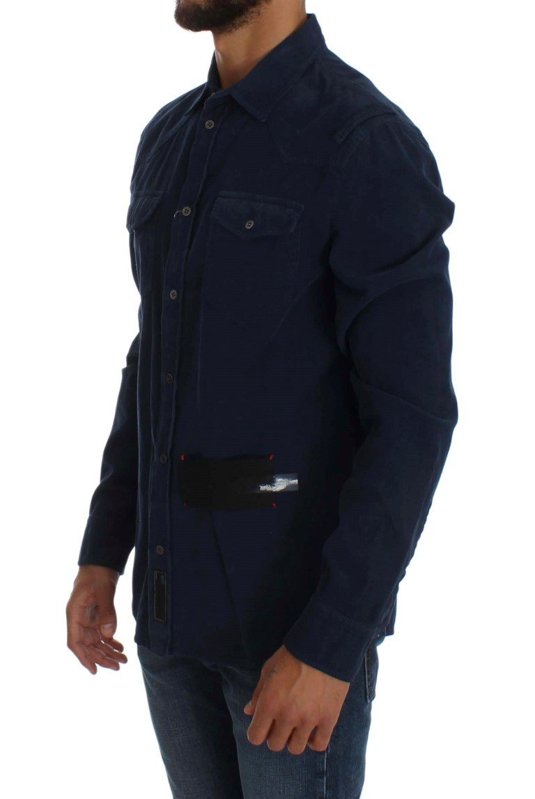 Blue Cotton Long Sleeve Slim Fit Manchester Shirt