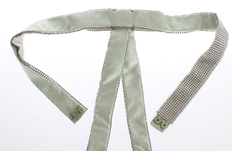 Green Silk Clear Real Crystal Waist Belt