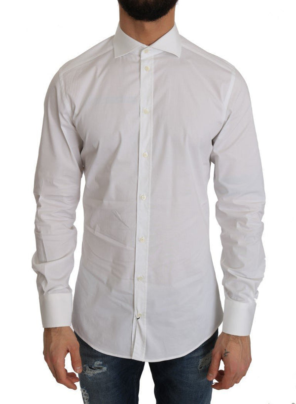 White Cotton GOLD Stretch Slim Shirt