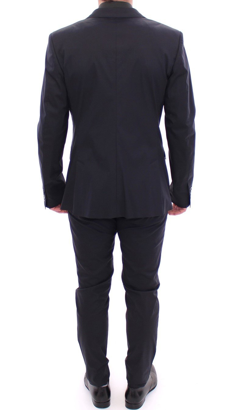 Blue Silk Stretch Two Button Slim Fit Suit