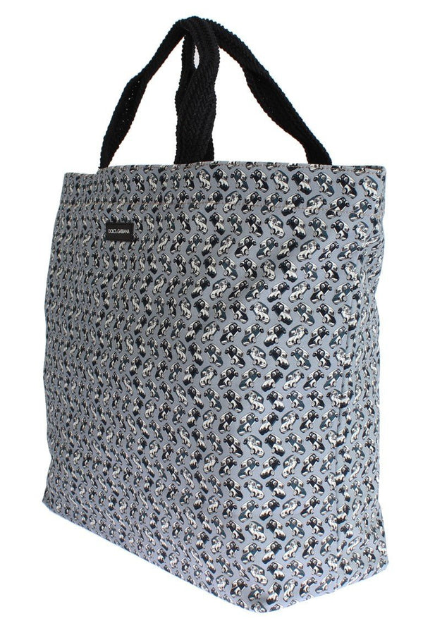 Blue Car Print Cotton Denim Shopping Bag