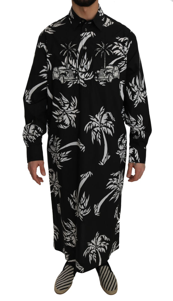 Black Cotton Palm Tree Shirt Thawb Kaftan