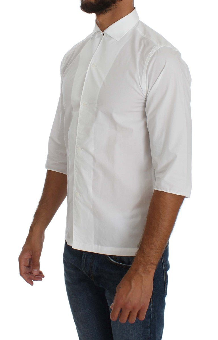 White 3/4 Sleeve Regular Fit Shirt
