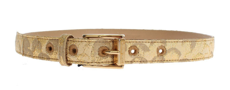 Gold Beige Brocade Cotton Leather Waist Belt