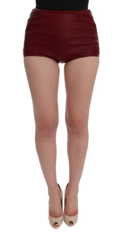 Red Leather High Waist Shorts