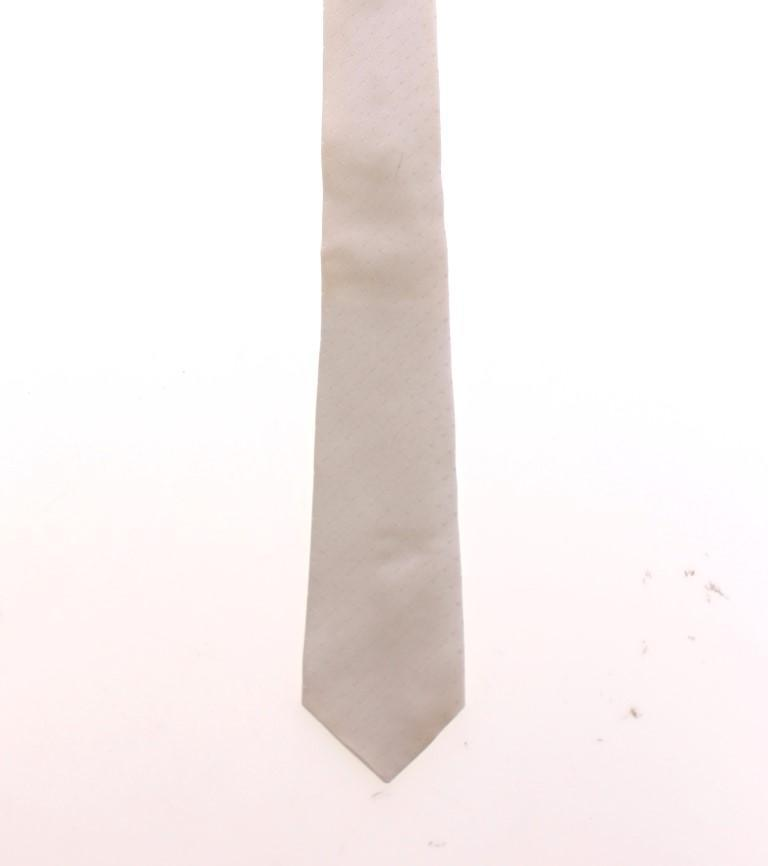 White Silk Pattern Slim Neck Tie