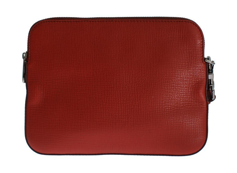 Red Leather Mens Organizer Clutch Wallet Wristlet