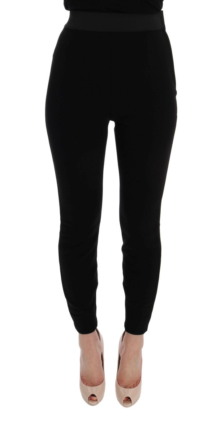 Black High Waist Slim Wool Stretch Pants