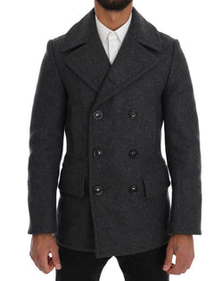 Gray Wool Stretch Trench Coat