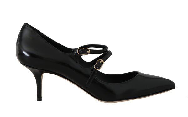 Black Leather Bellucci Mary Jane Pumps
