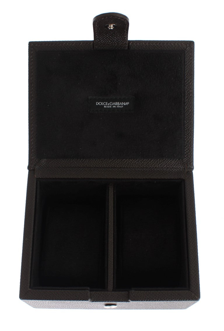 Brown Leather Unisex Two Watch Case Cover Box Storage - Designer Clothes, Handbags, Shoes + from Dolce & Gabbana, Prada, Cavalli, & more