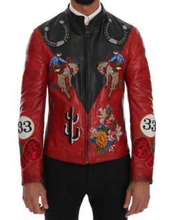 Black Red Leather Cowboy Embroidered Jacket