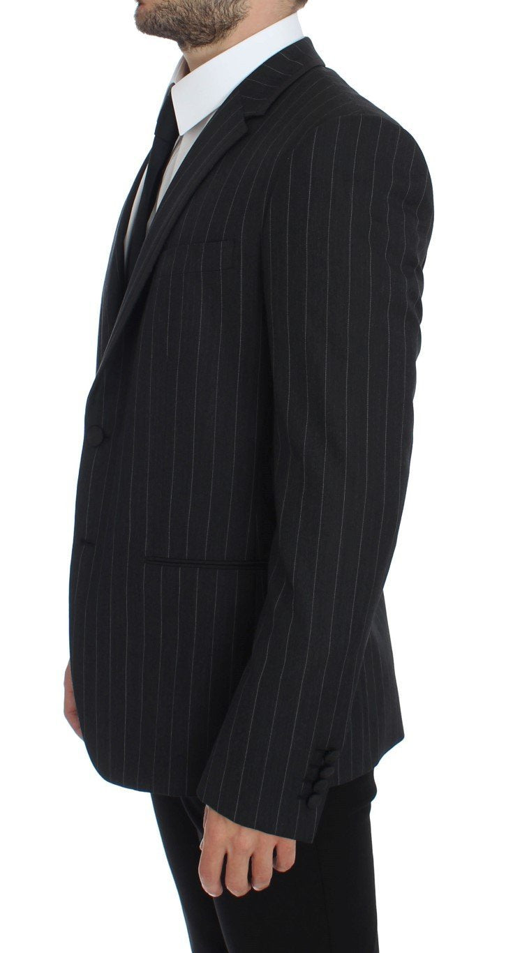 Gray Striped Slim Fit Wool Blazer