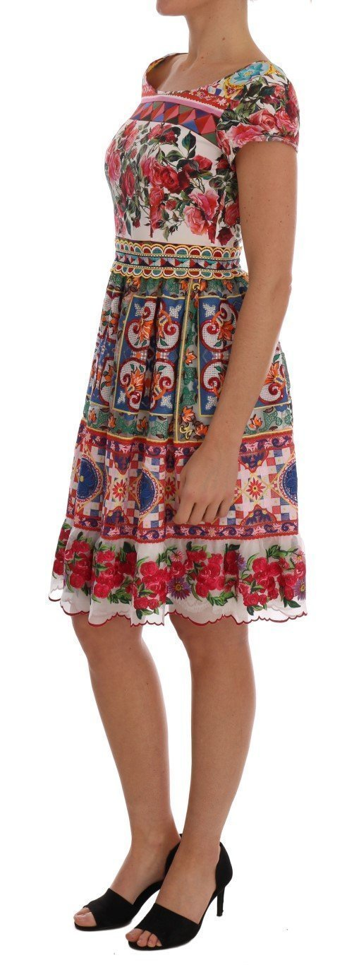 Multicolor Sicily Print Embrodered Floral Dress