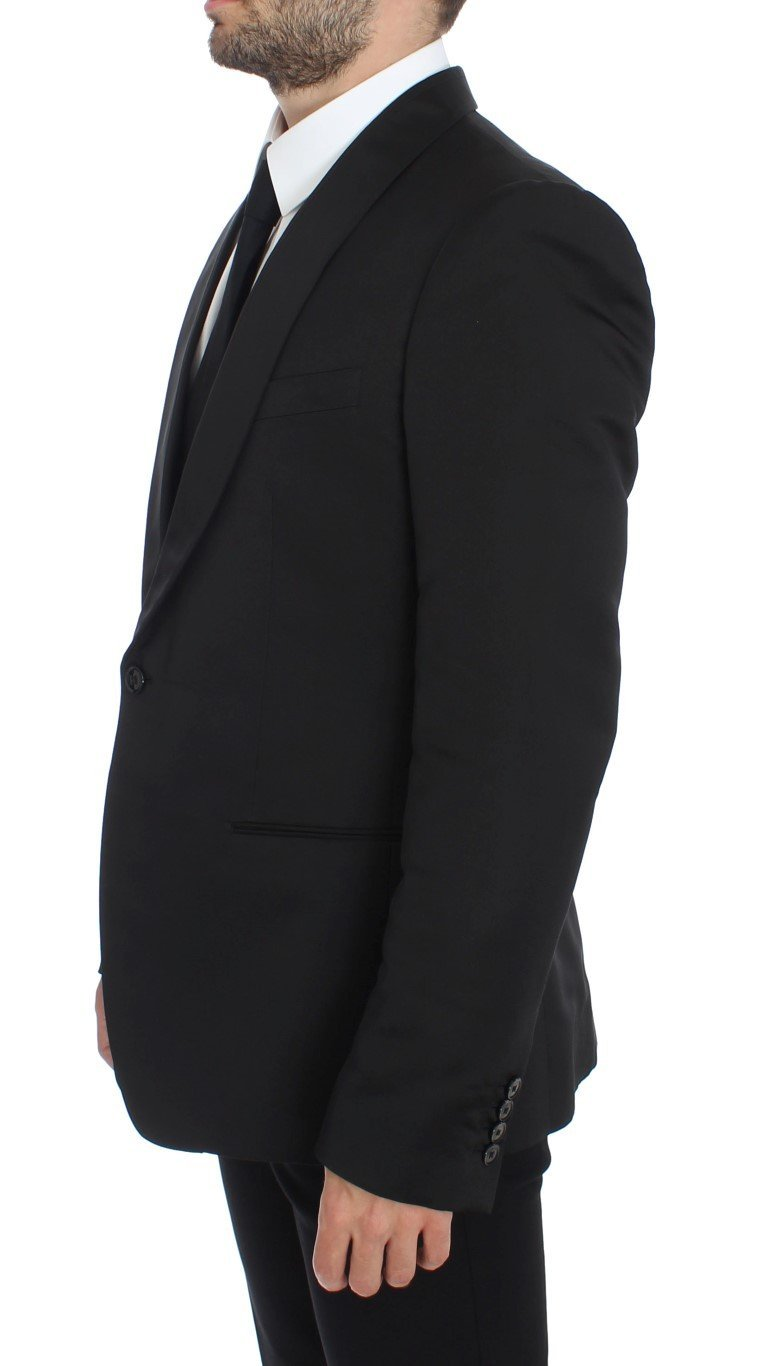 Black Silk Slim One Button Blazer