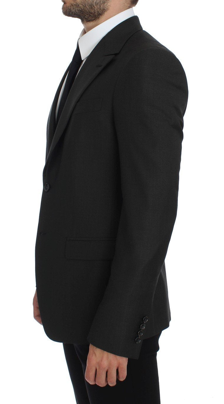 Gray Slim Fit Wool Silk Blazer