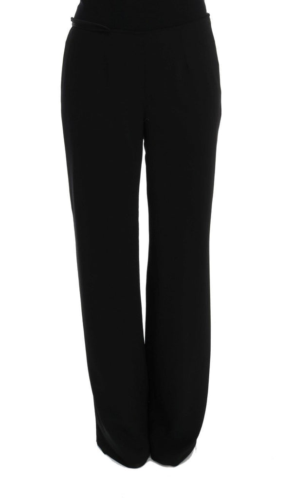 Black Silk Straight Fit Dress Pants