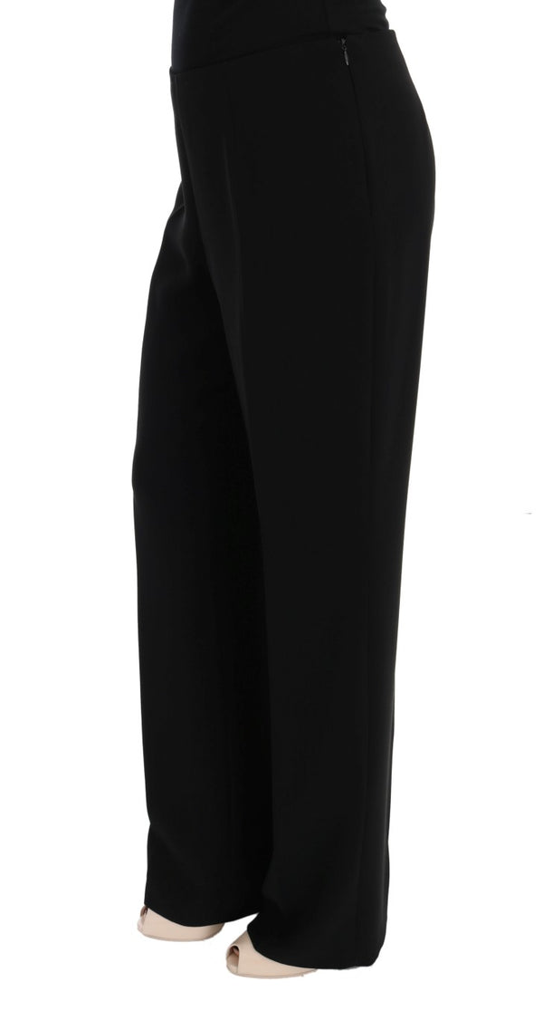 Black Wool Straight Fit Dress Pants