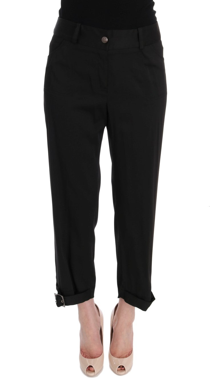 Black Cotton Capri Dress Pants