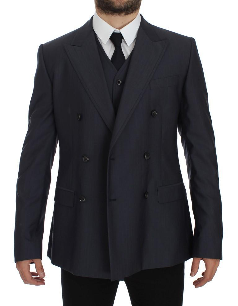 Blue Slim Fit Wool Silk Blazer