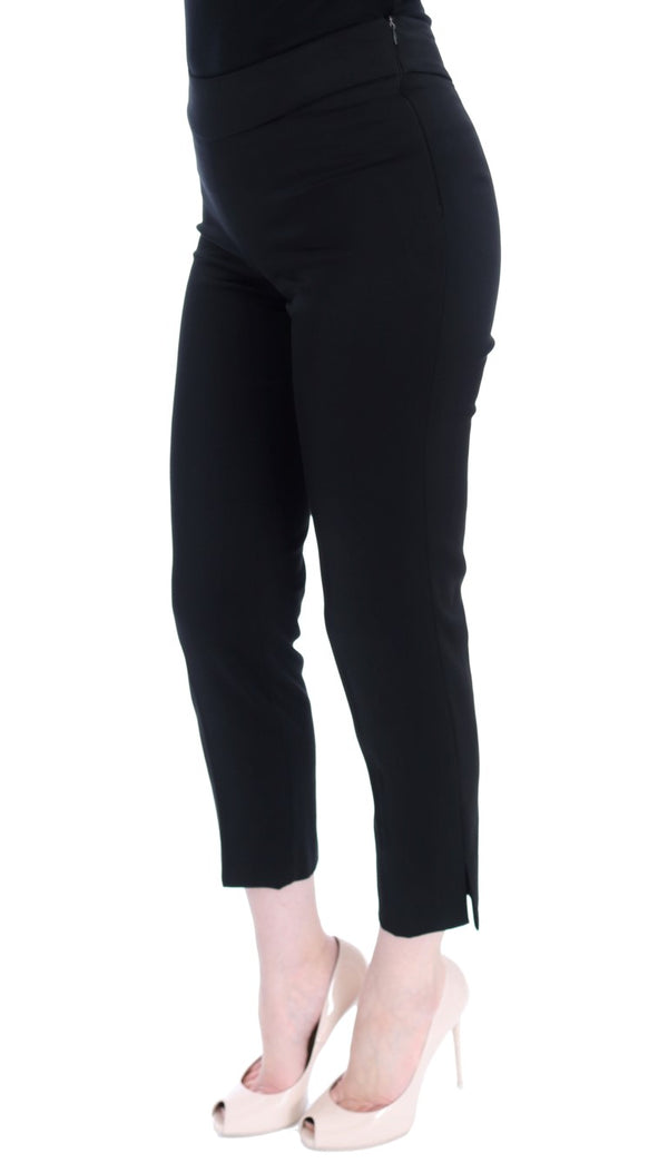 Black Cotton Stretch Capri Dress Pants