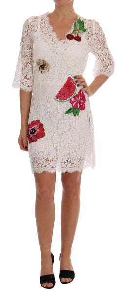 White Crystal Embellished Lace Mini Dress