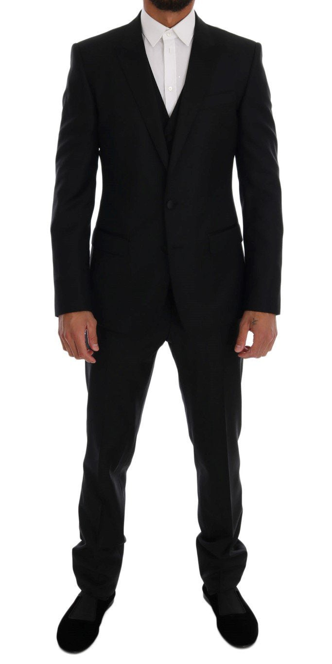 Black Wool Silk MARTINI Slim fit Suit