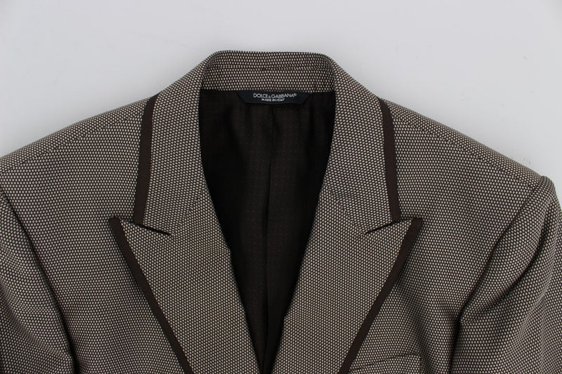 Brown Slim Fit Silk Two Button Blazer