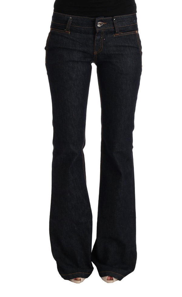 Dark Blue Cotton Bootcut Flared Jeans