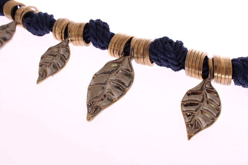 Blue Rope Gold Brass Leaf Crystal Belt