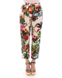 Multicolor Floral Crystal Sequined Cropped Pants