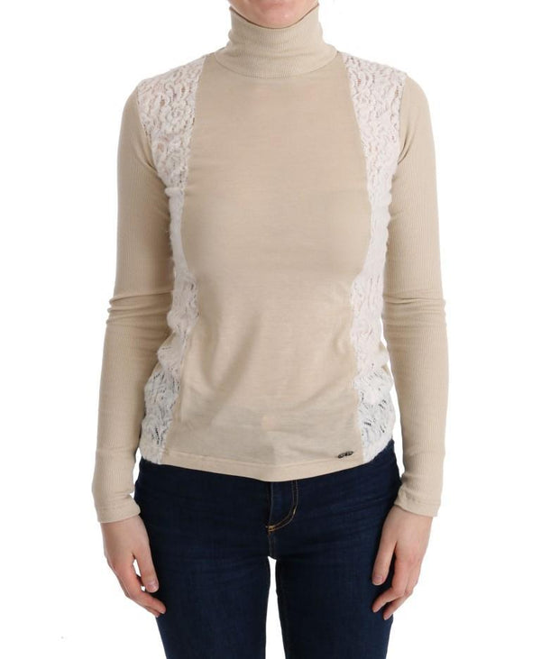 Beige Turtleneck Viscose Top Sweater