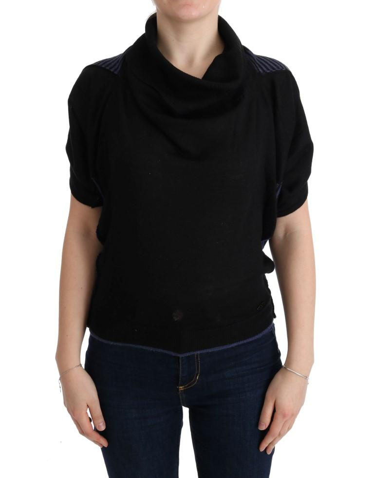 Black Turtleneck Wool Blouse