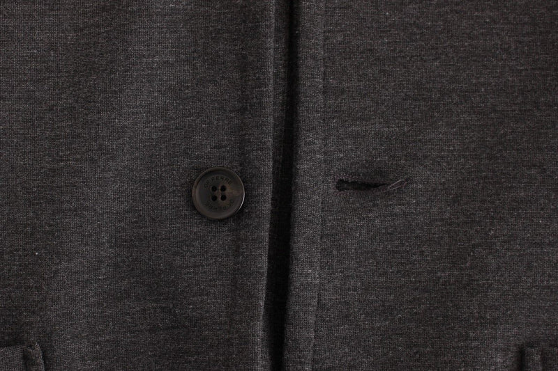 Gray Comfort Stretch Two Button Blazer