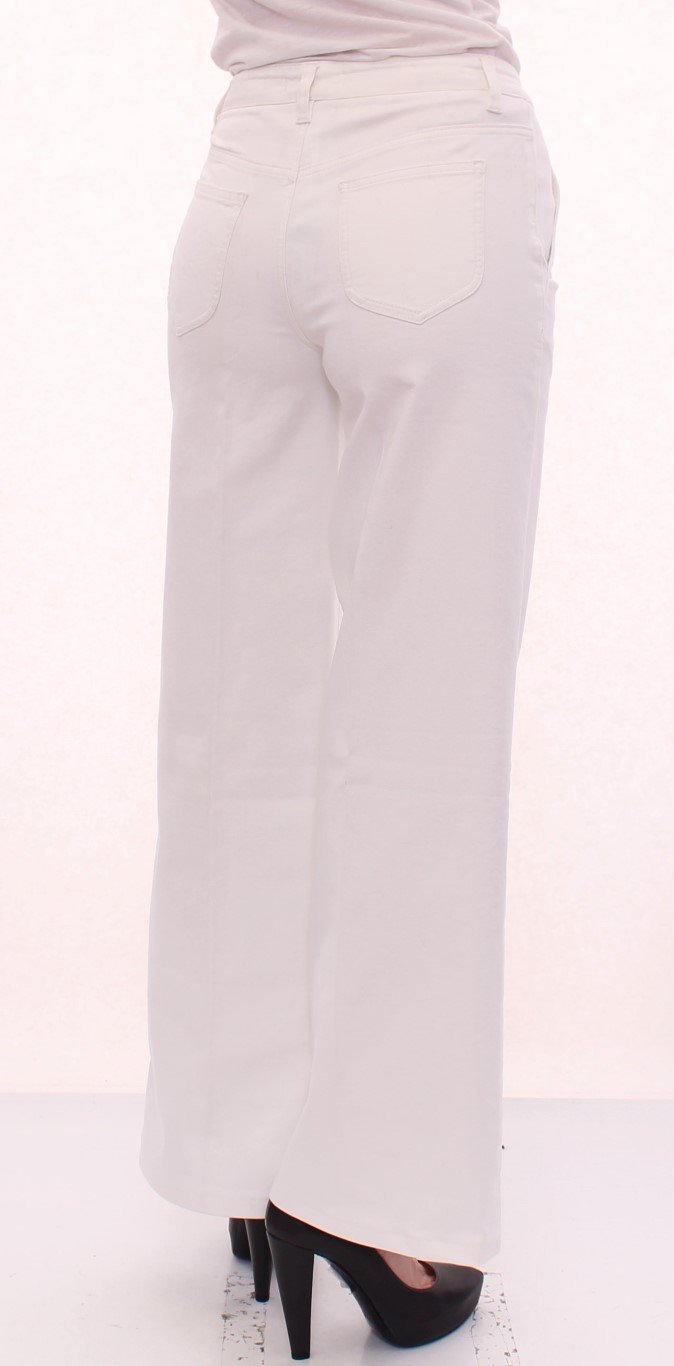 White Cotton Logo Regular Fit Jeans Pants