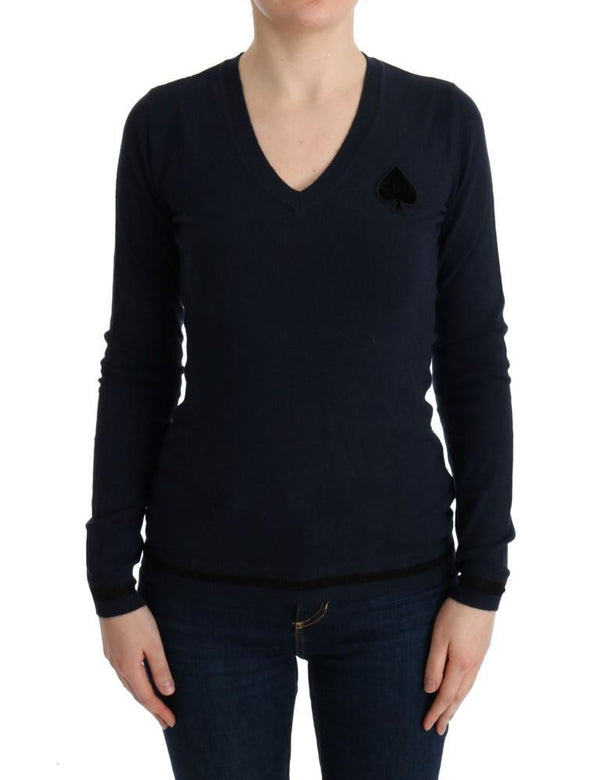 Blue V-neck Viscose Sweater