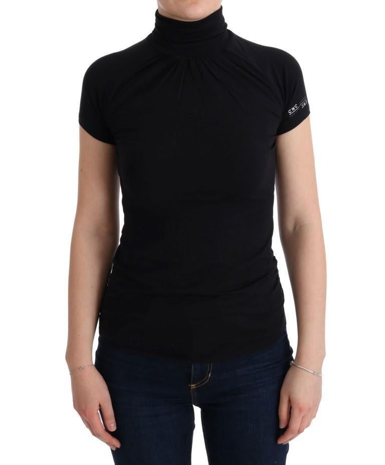 Black Turtleneck Viscose Top