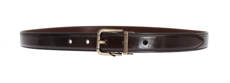 Brown Shiny Leather Gold Buckle Belt