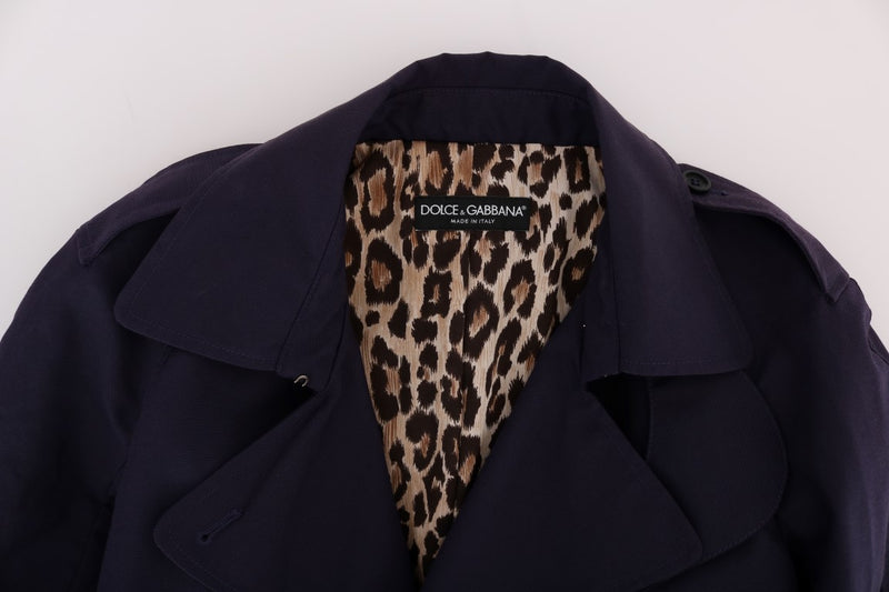 Purple Cotton Trench Coat