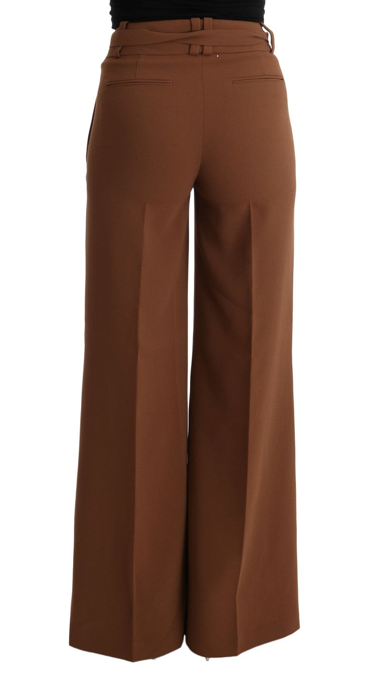 Brown Polyester Boot Cut Pants