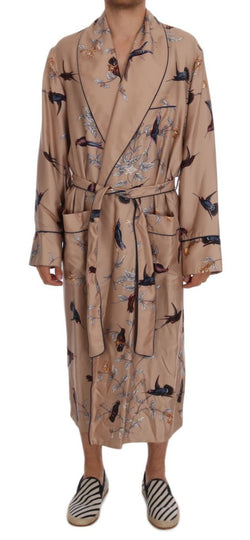 Beige Bird Silk Night Gown Robe