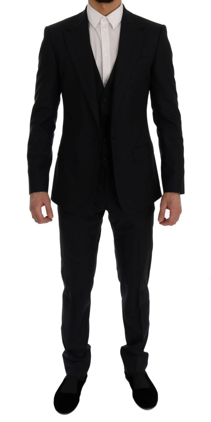 Blue Wool Silk Slim Fit 3 Piece Suit