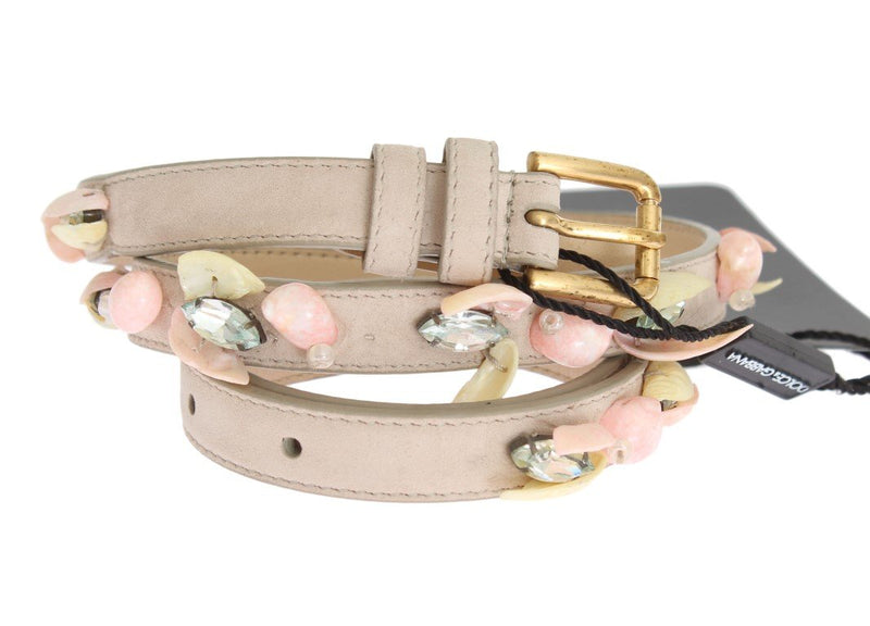 Beige Suede Leather Stones Crystals Belt