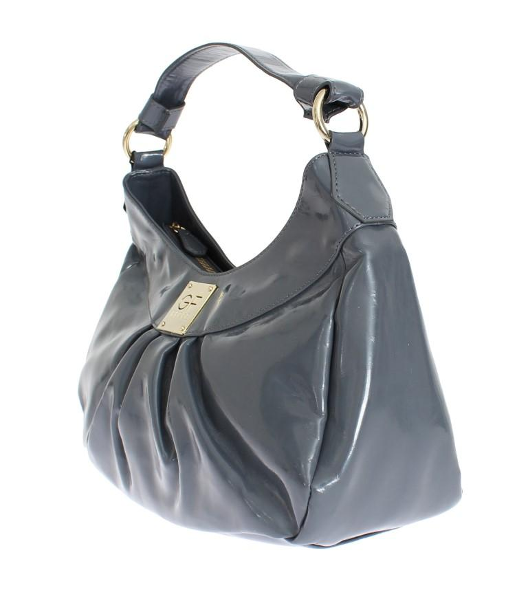 Gray patent hobo shoulder bag